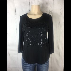 Chicos sequin black top size 0